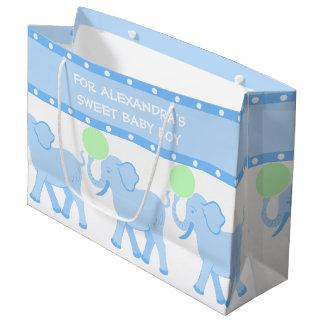 Grand Sac Cadeau Bébé doux de baby shower bleu du cirque   mignon