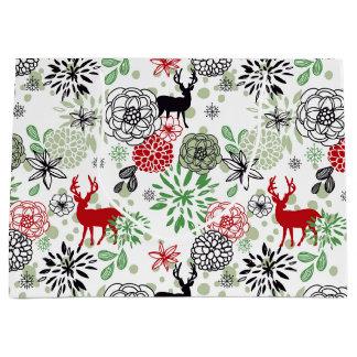 Grand Sac Cadeau Belles rétros vacances colorées de Noël