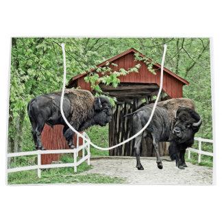 Grand Sac Cadeau Bison américain drôle au pont couvert