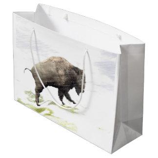 Grand Sac Cadeau Bison dans la tempête d'hiver
