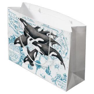Grand Sac Cadeau Bleu antique de famille de baleines d'orque