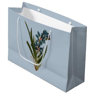 Grand Sac Cadeau - Bleu - babiana droit fleuri foncé