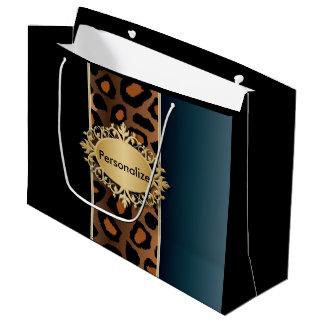 Grand Sac Cadeau Bleu de denim, noir et copie de Jaguar