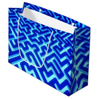 Grand Sac Cadeau Bleu de labyrinthe