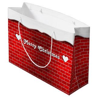 Grand Sac Cadeau Brique rouge avec la dérive de neige - dessus de