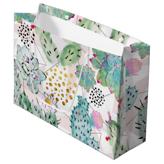 Grand Sac Cadeau cactus d'aquarelle et motif de triangles