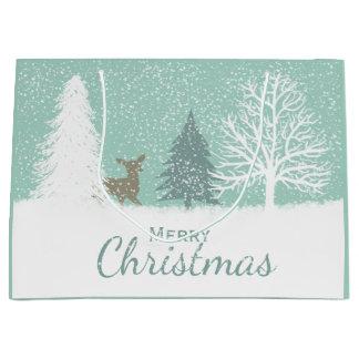 Grand Sac Cadeau Cerfs communs du pays des merveilles d'hiver, Noël