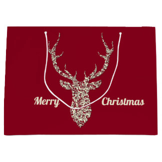 Grand Sac Cadeau Cerfs communs en filigrane de Noël