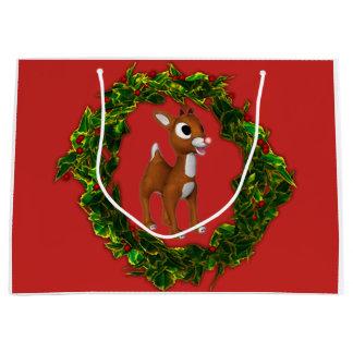 Grand Sac Cadeau Cerfs communs et guirlande mignons de Noël