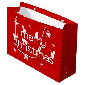 Grand Sac Cadeau Chat de Joyeux Noël