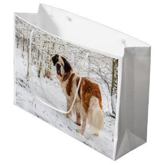 Grand Sac Cadeau Chien de St Bernard dans la neige