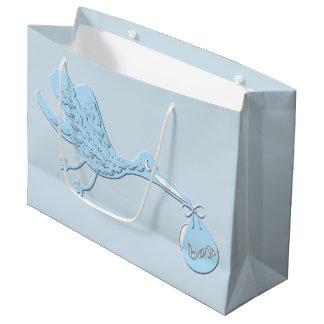 Grand Sac Cadeau Cigogne bleue livrant le garçon
