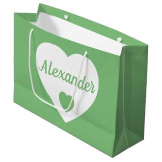 Grand Sac Cadeau Coeur blanc sur le vert vintage personnalisé