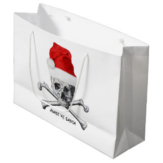 Grand Sac Cadeau Crâne de casquette de Père Noël de vacances de