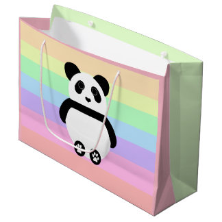 Grand Sac Cadeau Dessin mignon de panda avec les rayures en pastel