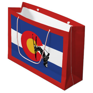 Grand Sac Cadeau Drapeau et skieur du Colorado