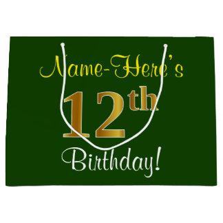 Grand Sac Cadeau Élégant, vert, anniversaire d'or de Faux 12ème +