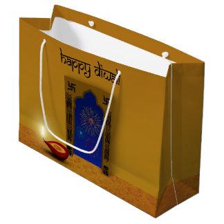 Grand Sac Cadeau Feux d'artifice heureux de fête de Diwali - grand