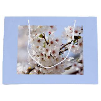 Grand Sac Cadeau Fleur blanche