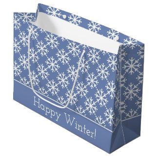 Grand Sac Cadeau Flocons de neige blancs sur le gris bleu