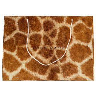 Grand Sac Cadeau Girafe de safari de Brown de peau d'animal