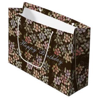 Grand Sac Cadeau Grand Cadeau-sac brun chocolat fleuri
