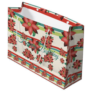 Grand Sac Cadeau Grand Cadeau-sac fleuri d'anniversaire de