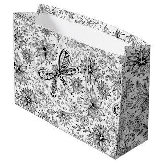 Grand Sac Cadeau Griffonnage de libellule et de fleurs