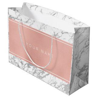 Grand Sac Cadeau Gris de marbre minimal métallique de rose d'or