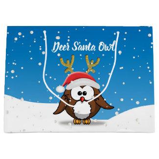 Grand Sac Cadeau Hibou de Père Noël de cerfs communs
