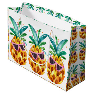 Grand Sac Cadeau Illustration d'aquarelles d'ananas d'été
