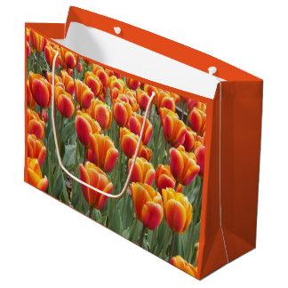 Grand Sac Cadeau Jardin orange de tulipe floral