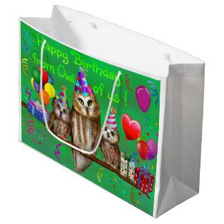 Grand Sac Cadeau Joyeux anniversaire du hibou de nous !