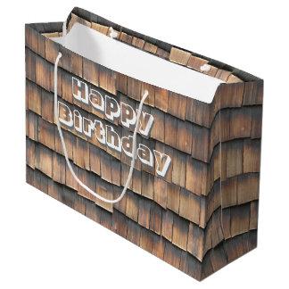 """Grand Sac Cadeau """"Joyeux anniversaire"""" sur les bardeaux en bois"""