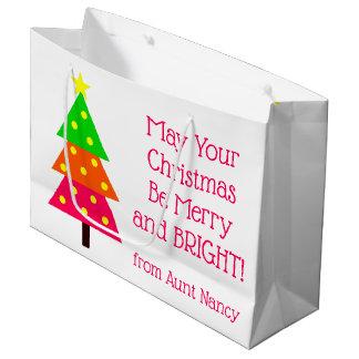 Grand Sac Cadeau Joyeux et lumineux arbre de Noël personnalisé