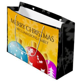 Grand Sac Cadeau Joyeux Noël avec les ornements de fête de vacances