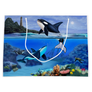 Grand Sac Cadeau La famille d'orque