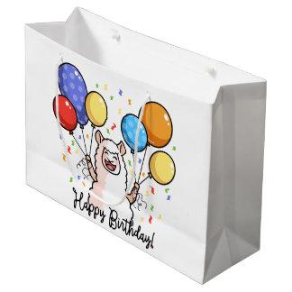 Grand Sac Cadeau Lama de joyeux anniversaire