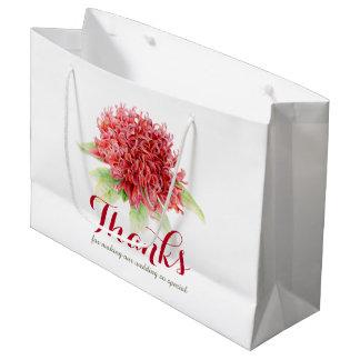 Grand Sac Cadeau L'art rouge de fleur de waratah vous remercient