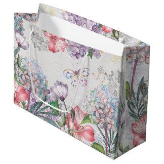 Grand Sac Cadeau Le jardin d'aquarelle fleurit la libellule de