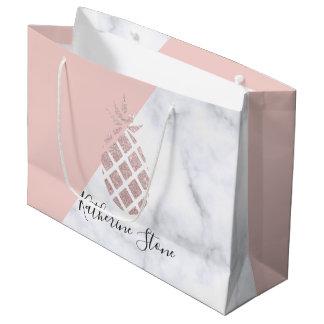 Grand Sac Cadeau Le marbre blanc de parties scintillantes roses