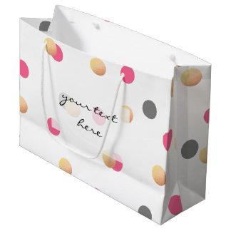 Grand Sac Cadeau les confettis roses gris de poussin d'or élégant