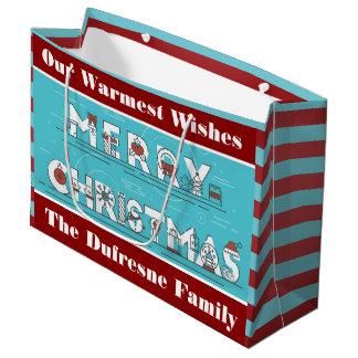 Grand Sac Cadeau Les rayures d'amusement ont personnalisé Noël