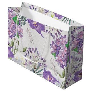 Grand Sac Cadeau Libellule pourpre d'hortensias de violettes