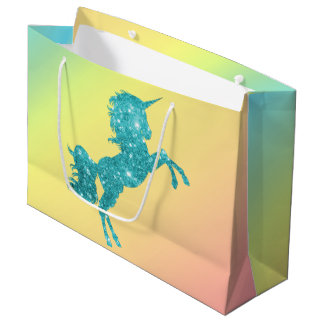 Grand Sac Cadeau Licorne de parties scintillantes d'Aqua