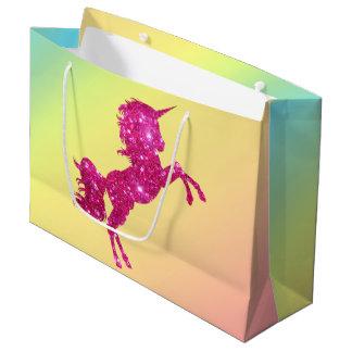 Grand Sac Cadeau Licorne rose de parties scintillantes