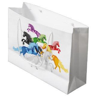 Grand Sac Cadeau Licornes sauvages colorées d'illustration