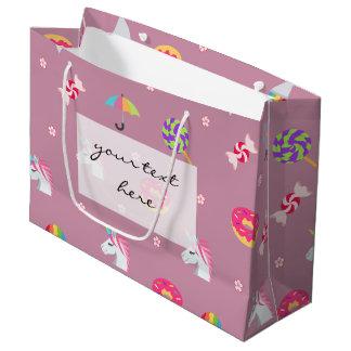 Grand Sac Cadeau lucettes roses mignonnes de fleurs de sucreries de