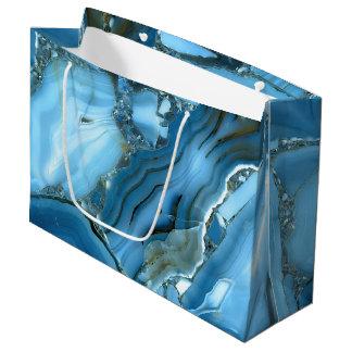 Grand Sac Cadeau Marbre bleu profond