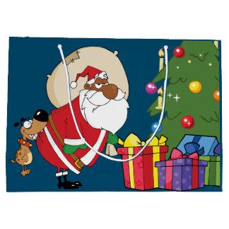 Grand Sac Cadeau Mauvaises morsures de chien Père Noël noir sur le